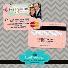 C Mint Fl Wedding Invitations Credit Card