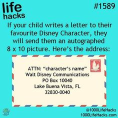 Get a free autographed 8x10 Disney picture of your favorite Disney Character. :)