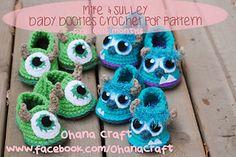 Monsters, Inc baby booties pattern - Mike Wazowski & James P. Sullivan feet
