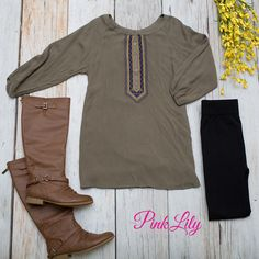 You'll definitely be remembered in this beautiful olive tunic! We are in love with the gorgeous flowy look - it's so effortlessly chic and relaxed!