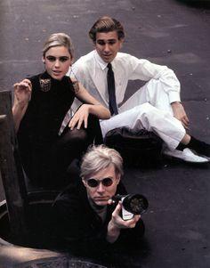 Edie Sedgwick, Chuck Wein & Andy Warhol in New York. Photo: Burt Glinn, 1965.