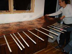 do it yourself kitchen countertops - interior paint color schemes Copper Countertops, Butcher Block Countertops, Kitchen Countertops, Kitchen Cabinets, Chevron Baby Blankets, Paint Color Schemes, Wooden Counter, Copper Kitchen, Interior Paint Colors