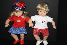 All American Stars Boy and Girl Twin Outfits Fits Bitty Baby Twins $20.00 at weeline.com