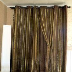 Double rideau avec voilage rayé brillant marron doré