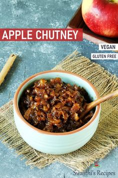 Spiced apple chutney with bursting flavors & deliciousness! Serve it as a relish with any snacks or grilled meat dishes. Indian Chutney Recipes, Indian Food Recipes, Beef Recipes, Vegetarian Recipes, Cooking Recipes, Healthy Recipes, Kerala Recipes, Xmas Recipes, Healthy Chef