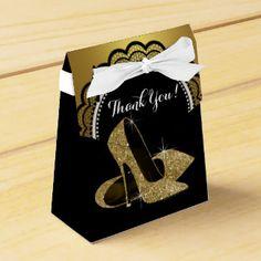 Elegant Black and Gold Glitter High Heel Shoe Party Favor Box