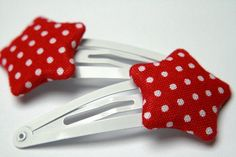 Red polka dot star shaped snap clips hair clip by myredscooter