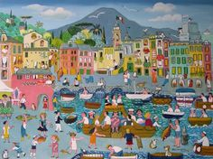 Camogli Port by Alessandra Puppo, size: 60cmX80cm. Naive art,  Painting matierial: Oil on canvas