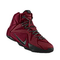 I designed the team red Nike LeBron 12 iD men's basketball shoe with black trim.