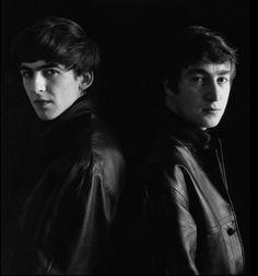 George Harrison and John Lennon, by Astrid Kirchherr. Leather in the start...