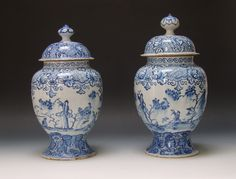 Garry Atkins | Two large Bristol delftware vases and covers circa 1750 | New York Ceramics & Glass Fair