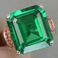 Vintage 7CT Emerald Cut Green Tsavorite with Orange Sapphire Accent Engagement, Promise, Wedding Ring Size 6.25