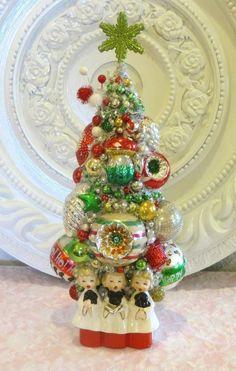 Vintage Christmas Bottle Brush Trees | Vintage Ornaments Bottle Brush Tree in Christmas Caroler Planter Cute ...
