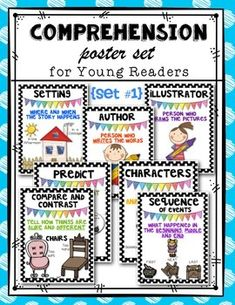 Comprehension Posters (set 1) for Kindergarten and First Grade. Includes: character, setting, illustrator, predict, compare/contrast, and sequence. $
