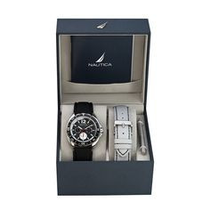 Men's Watch  Give the corporate gift that's always up to the minute! This men's interchangeable watch box set includes black and silver polyurethane textured straps, strap changing tool, unidirectional ratcheting top bezel, and black dial with day/date/24 hour subdials. It's water resistant to 100 feet and your logo is laser engraved or printed in one color. There's a 5-year limited warranty, and the set comes in a Nautica retail gift box.