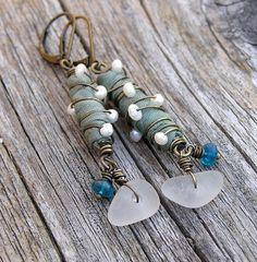 sea green sari silk, freshwater pearl, sea glass, and apatite gemstone dangle earrings. rustic. sea inspired. OOAK mixed media earrings.