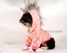 Teacup Puppy Clothes | Teacup Dog Clothes Pink Leopard Mohawk Hoodie by PetitDogApparel