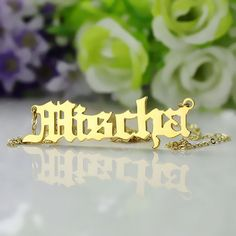 Retro Old English Font Name Necklace only $20.99