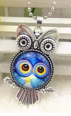Silver Owl Pendant with Glass Cabochon Owl Necklace Owl Pendant, Owl Necklace, Trendy Jewelry, Vintage Earrings, Shoulder Bag, Glass, Silver, Fashion Jewelry, Drinkware