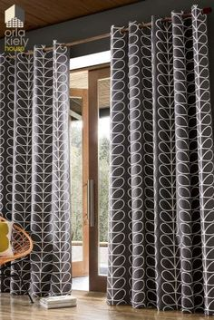Transform an interior setting with this pair of Linear Stem curtains from Orla Kiely. Effortlessly sophisticated the charcoal grey surface is adorned with a cream linear stem print, introducing the brands iconic style to a home Drapes Curtains, Blackout Curtains, Grey Living Room Curtains, Lounge Curtains, Luxury Curtains, Bedroom Curtains, Orla Kiely Curtains, Orla Kiely Bedroom, Knives