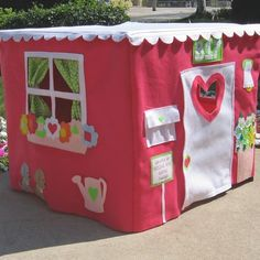 My girls would LOVE an adorable playhouse like this - this ETSY seller has some fabulous accessories and creations greater than your wildest imagination! LOVE! http://www.etsy.com/shop/missprettypretty!!