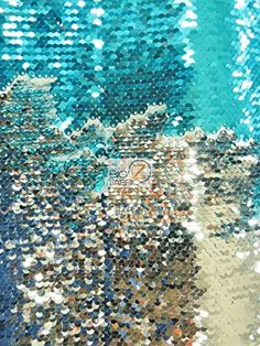 Reversible Mermaid Pearl Sequin Spandex Fabric / Shiny Aqua/Shiny Silver / Sold By The Yard - Reversible Mermaid Pearl Sequin Spandex Fabric - Sequins Fabric - Products Silver Pillows, Mermaid Pillow, Sequin Fabric, Color Stories, Spandex Fabric, Spandex Material, Diy Accessories, Amazon Art, City Photo