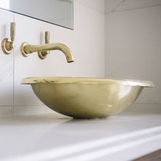 Beautiful Brass! Our William Holland handcrafted basins made from pure gleaming brass.  #basin #artisan #gold #brass #williamholland #british #brand  www.williamholland.com  Interiordesign and build by #robertpettybuilders and @innatehome