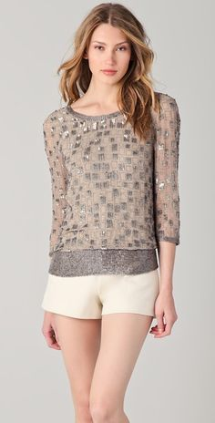 Parker Spaced Sequin Open Back Top