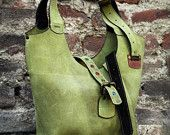 Green leather crossbody/shoulder zippered oversized  bag oversized bag