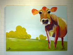 Large Cow Painting 30x40 Original Acrylic on Canvas by LoganBerard on Etsy