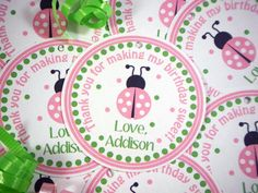 Ladybug FAVOR TAGS - Pretty in Pink Ladybug - Birthday Party - Baby Shower. $6.00, via Etsy.