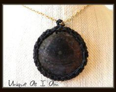 Hand Made Crocheted Flat Shell Pendant by SusanPrestonJewelry