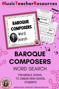 This music game contains the names of composers from the Baroque era. Can be used as part of a sub lesson or as a springboard activity into a unit on the Baroque Era. ♫ ♫ #musiceducation #mtr Baroque Composers, Music Composers, Child Teaching, Teaching Music, Music Worksheets, Worksheets For Kids, Music Word Search, Music Classroom, Classroom Resources