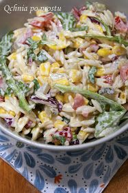 Salad with noodles and yellow cheese Pasta Salad, Cobb Salad, Orzo, Salad Recipes, Healthy Recipes, Healthy Food, Polish Recipes, Potato Salad, Noodles