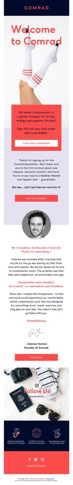 Subject Line: Welcome to Comrad Socks! Welcome Emails, Email Design Inspiration, Journey, Socks, Website, The Journey, Sock, Stockings, Ankle Socks