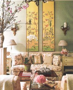 This pair of tall panels on the wall makes a dramatic and colorful design statement - Charlotte Moss