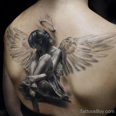 Realistic Angel Tattoo On Back-TB12156
