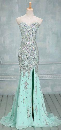 Mint Green Prom Dresses,Mermaid Evening Dresses,Side Slit Prom Gowns,Elegant Prom Dress With Beading Rhinestones