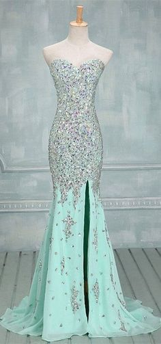 Mint Green Prom Dresses,Mermaid Evening Dresses,Side Slit Prom Gowns,Elegant Prom Dress With Beading Rhinestones