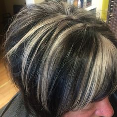 Textured bob with platinum foils and dark base