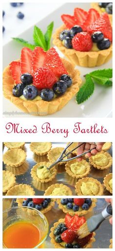 Mini tart shells filled with homemade custard, fresh berries, and an apricot glaze. An easy and elegant fruit tart recipe everyone will love. Easy Tart Recipes, Fruit Recipes, Dessert Recipes, Mini Desserts, Just Desserts, Delicious Desserts, Plated Desserts, Fruit Custard Tart, Fruit Tart Glaze
