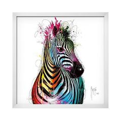 Zebra Pop White Wood Framed Art Print, Blue ($210) ❤ liked on Polyvore featuring home, home decor, wall art, blue, blue wall art, wooden wall art, zebra home accessories, wood wall art and zebra home decor