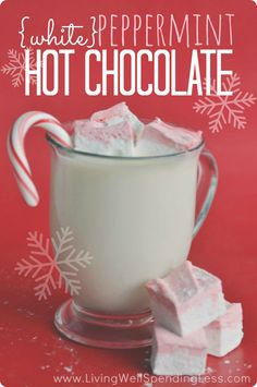 White Peppermint Hot Chocolate - Living Well Spending Less™- This rich & creamy white chocolate peppermint hot cocoa is surprisingly easy to make and SO delicious! The perfect treat for a cold winter's night! via Living Well Spending Less Christmas Drinks, Holiday Drinks, Christmas Treats, Holiday Treats, Winter Drinks, Party Drinks, Christmas Time, Cocoa, Chocolate Caliente