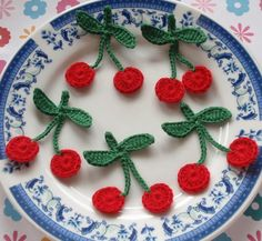 6 Crochet Strawberries In Red, Green, Black YH - 084 Strawberry Color, Crochet Strawberry, Crochet Needles, Crochet Yarn, Look At My, Cherries Jubilee, Cherry On Top, Red Green, Crochet Necklace
