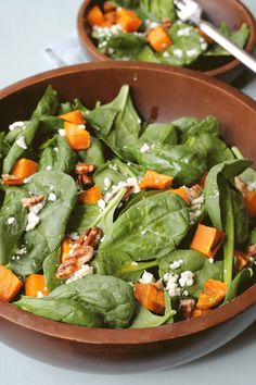 Spinach Salad with Sweet Potatoes