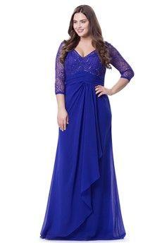 A-Line/Princess V-neck Floor-length Chiffon Plus Size Evening Dress