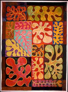 Leaves In Living Color, Libby Lehman, love the artsy stylized leaves.  Great contemporary setting.