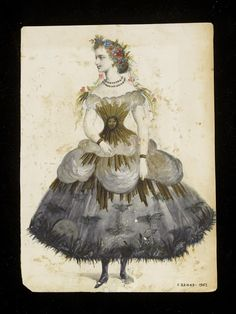 Fashion design by Léon Sault. Watercolour drawing probably for Charles Frederick Worth. Paris, Watercolour and pencil drawing. Victorian Fancy Dress, Victorian Costume, Victorian Fashion, Victorian Halloween, Vintage Fashion, Charles Frederick Worth, Theatre Costumes, Ballet Costumes, Historical Costume