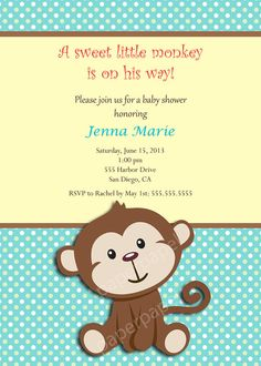 Monkey Baby Shower Invitation, Monkey Invitation, Boy Baby Shower Invitation, Free Thank You Card, Front and Back, Printable Invitation $13.00