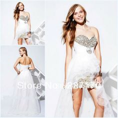 2013 Summer New Arrival Sweetheart Sparking Beaded Organza Short Front Long Back Prom Dresses